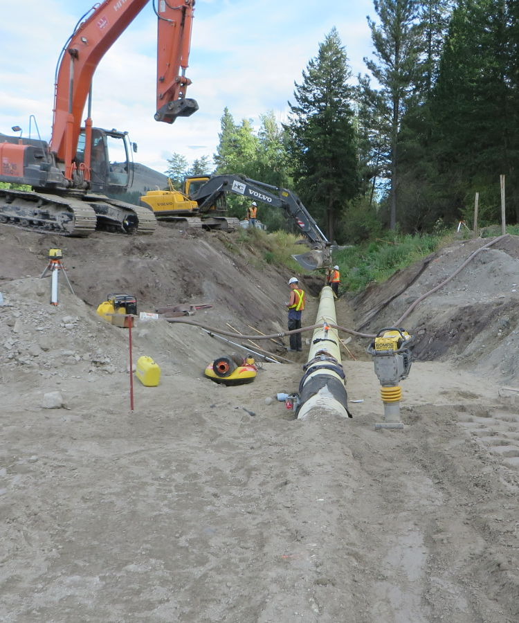 Charlie Dam pipe backfill